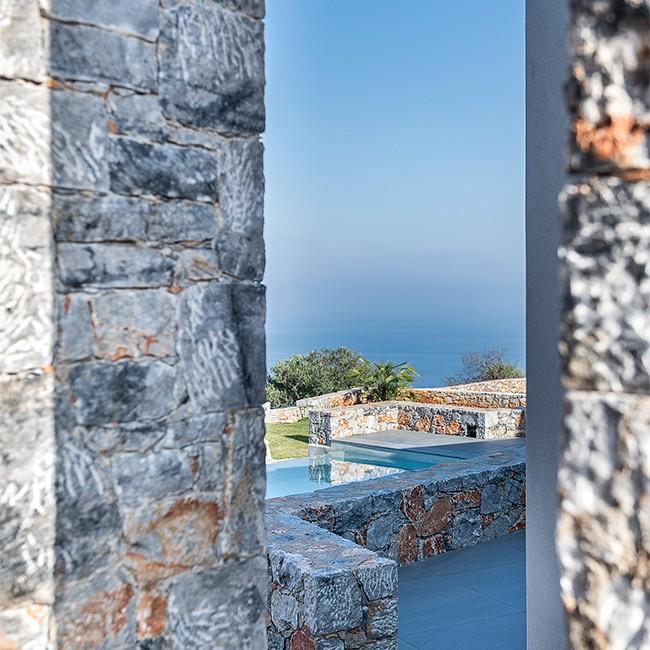 sneak view, stonework, detail, sea view,